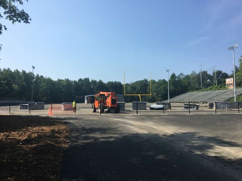 Work was underway at Finn Stadium on Tuesday, Aug. 28.