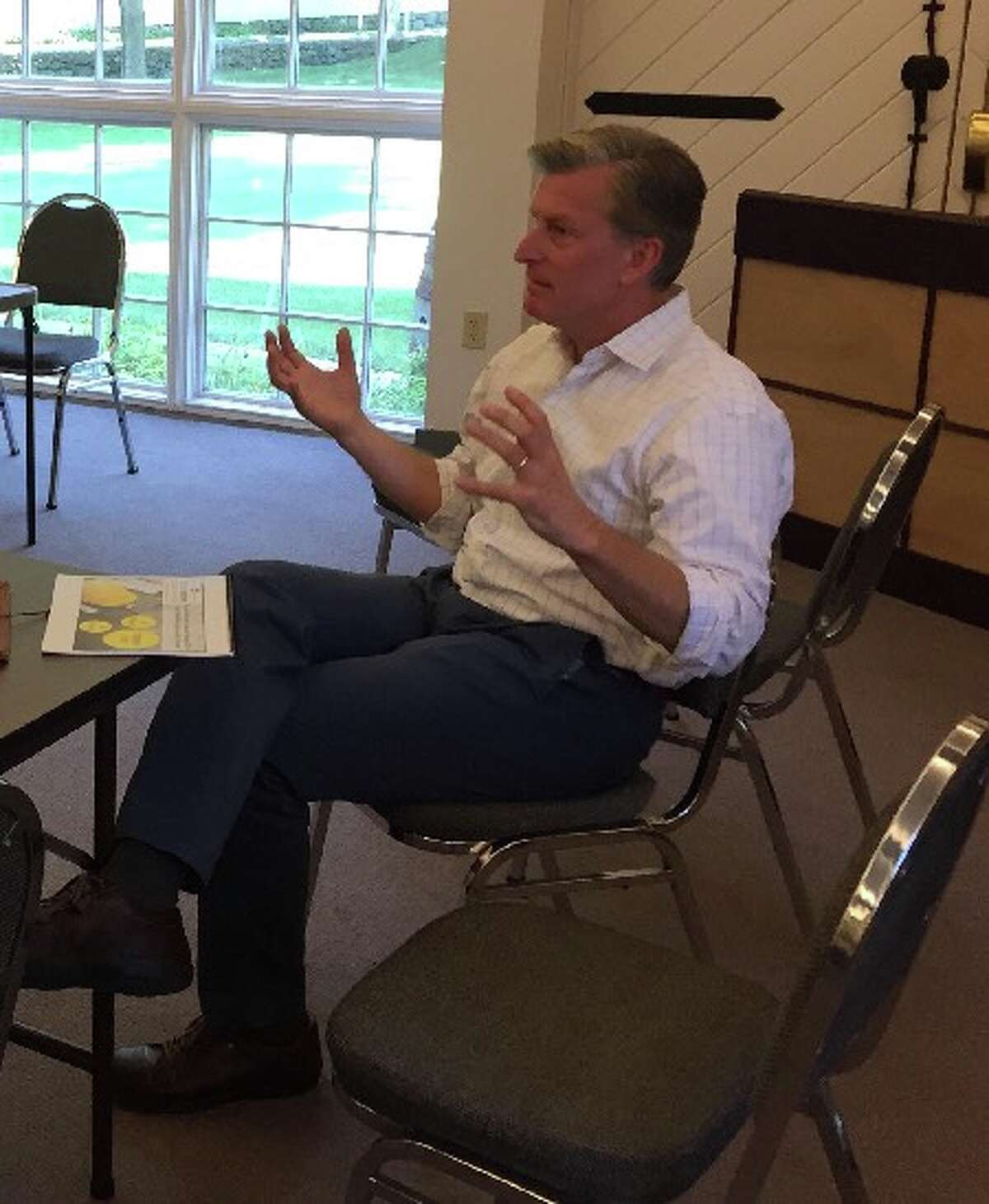 Steve Obsitnik makes a point during an interview with New Canaan Advertiser / HAN Network. - Contributed photo