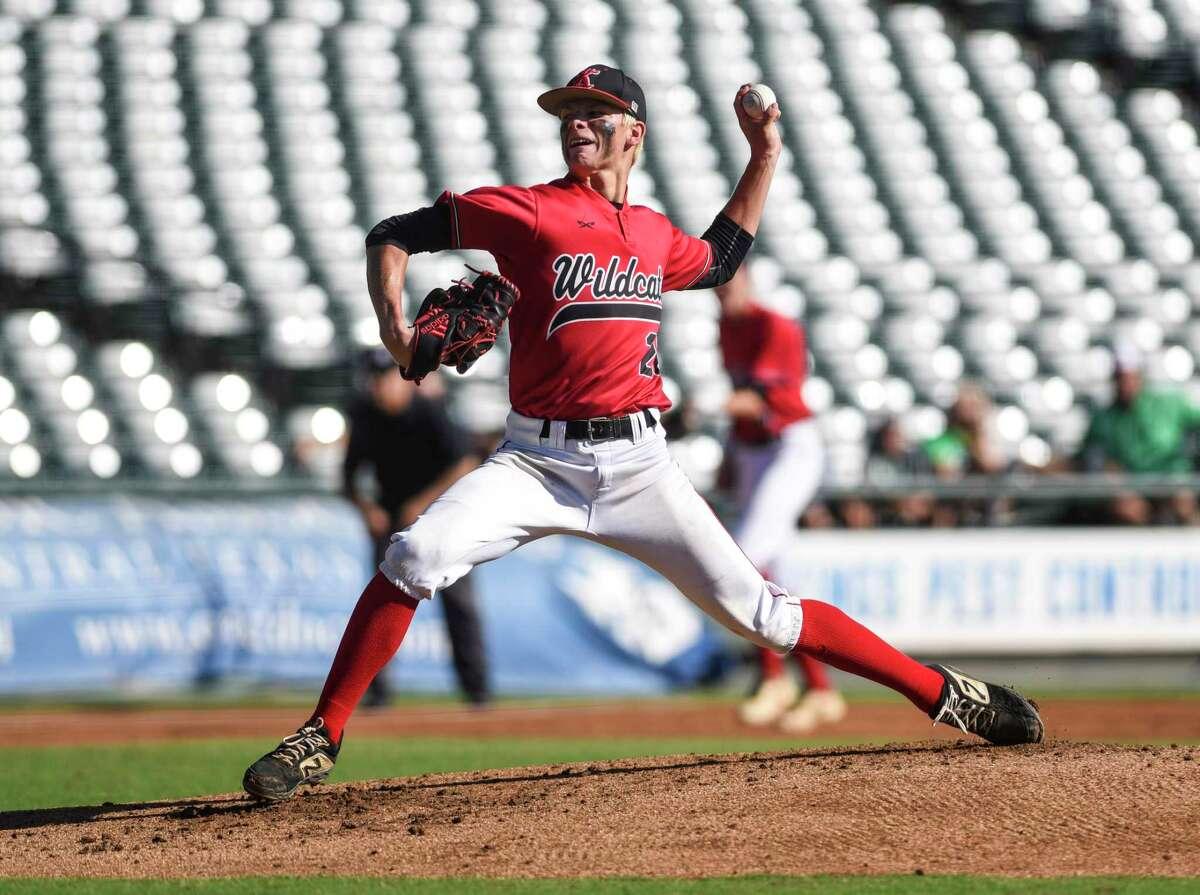 Kirbyville's James Burchett pitches during the 3A state semifinal game at Dell Diamond Stadium in Round Rock Friday afternoon. Photo taken on Friday, 06/07/19. Ryan Welch/The Enterprise