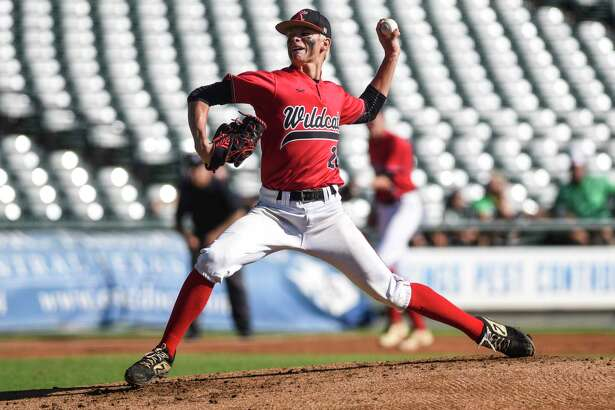 Kirbyville?•s James Burchett pitches during the 3A state semifinal game at Dell Diamond Stadium in Round Rock Friday afternoon. Photo taken on Friday, 06/07/19. Ryan Welch/The Enterprise