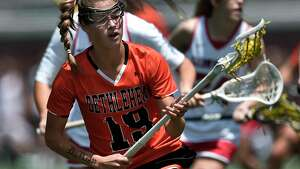 Bethlehem's Lindsay Ayres scoops up a loose ball during a Class A semifinal at the NYSPHSAA Girls Lacrosse Championships in Cortland, N.Y., Friday, June 7, 2019. Bethlehem's season ended with a 15-14 overtime loss to Baldwinsville-III. (Adrian Kraus / Special to the Times Union)