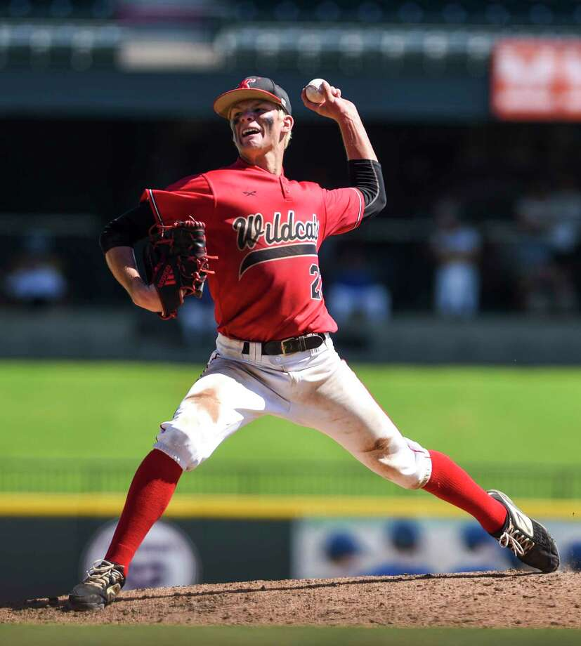 Kirbyville's James Burchett pitches during the 3A state semifinal game at Dell Diamond Stadium in Round Rock Friday afternoon. Photo taken on Friday, 06/07/19. Ryan Welch/The Enterprise Photo: Ryan Welch, The Enterprise / © 2019 Beaumont Enterprise