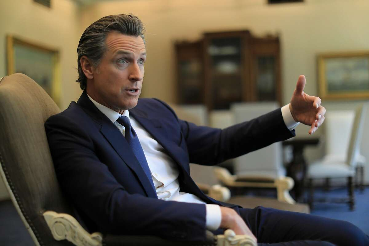 California Gov. Gavin Newsom in his offices at the State Capitol in Sacramento, Calif., May 3, 2019. Critics say Newsom's agenda is so broad as to be unfocused. And his ambitions could be challenged if the economy tumbles. (Jim Wilson/The New York Times)