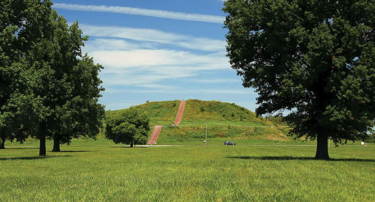 Cahokia Mounds State Historic Site, a pre-Columbian Native American city near Collinsville. Legislation is being presented to make these historic grounds a new national park by the Department of the Interior.