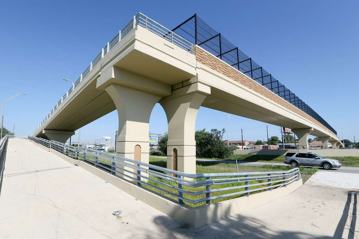 View looking north of the walkway onto the new pedestrian bridge over U.S. 90, between Loop 410 and Military Drive, on Friday, June 7, 2019. The bridge was built in response to pedestrian deaths that had occurred there from people running across the highway.
