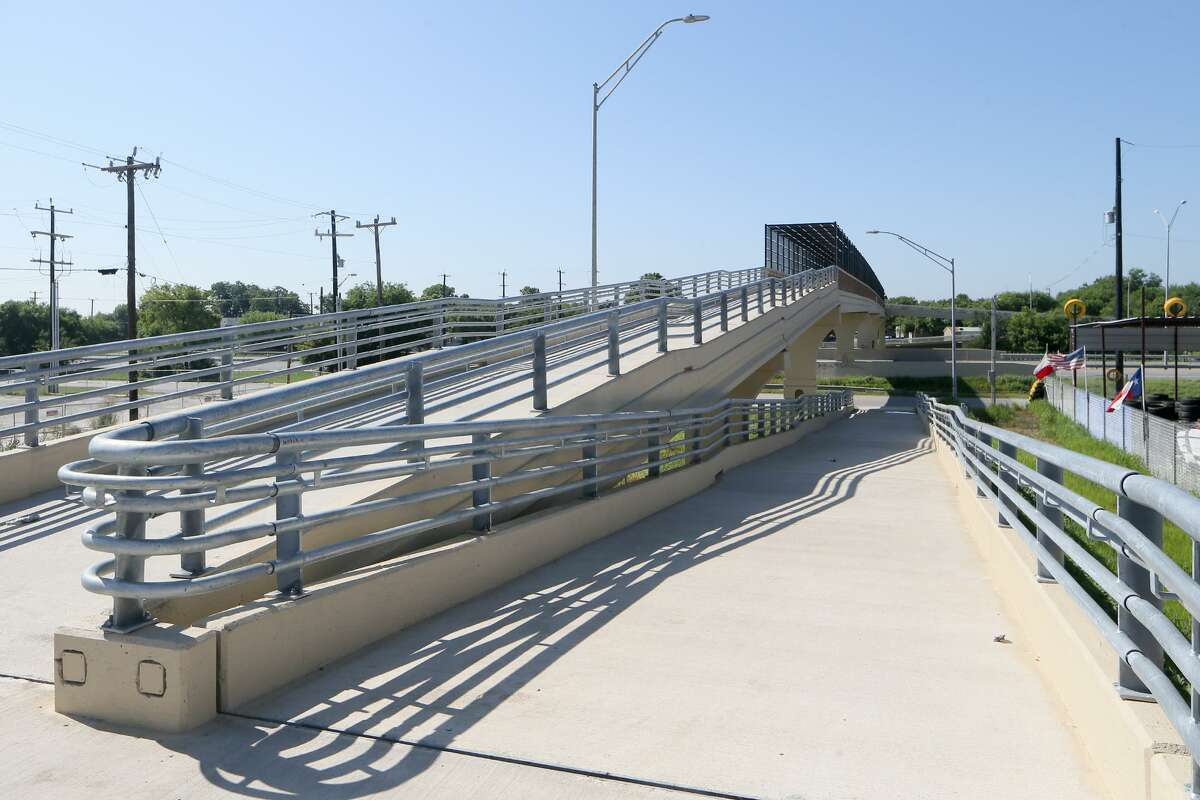 View looking south of the walkway onto the new pedestrian bridge over U.S. 90, between Loop 410 and Military Drive, on Friday, June 7, 2019. The bridge was built in response to pedestrian deaths that had occurred there from people running across the highway.