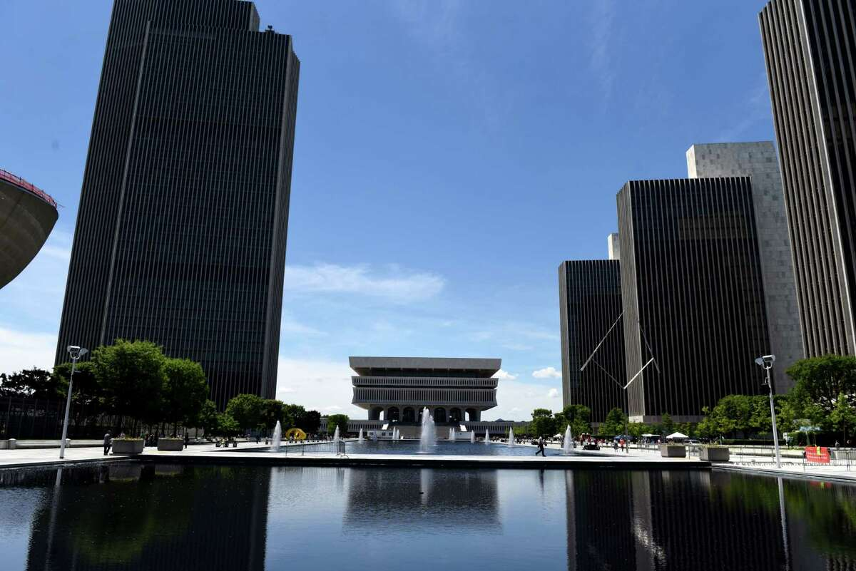 View of the Empire State Plaza looking south during a sunny day on Friday, June 7, 2019, in Albany, N.Y. (Will Waldron/Times Union)