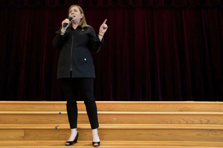 Rep. Lizzie Fletcher, D-Texas, speaks to her constituents of the 7th Congressional District during a town hall meeting at Frostwood Elementary School on Saturday, March 23, 2019, in Houston. Photo: Brett Coomer, Houston Chronicle / Staff Photographer / © 2019 Houston Chronicle