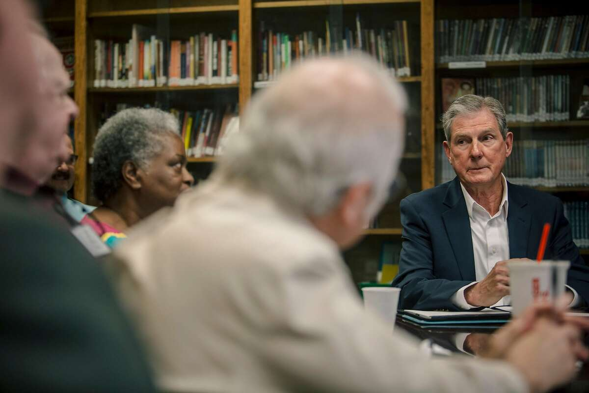 Tom Adair, right, attends a weekly meeting of job seekers over 50 at a church in Madison, Ala., May 2, 2019. Even as employers complain about a shortage of workers, tens of thousands of Americans say they are repeatedly turned away due to age bias. Adair, 71 recounts acing phone interviews only to be turned down after in-person meetings. (Andrea Morales/The New York Times)