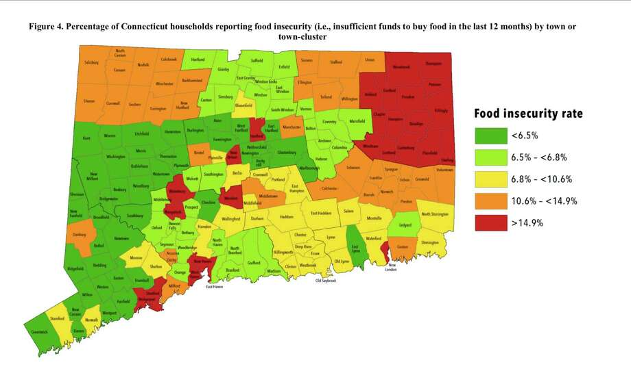 """Percentage of Connecticut households reporting food insecurity (i.e., insufficient funds to buy food in the last 12 months) by town or town-cluster. From the """"Food Insecurity and Obesity Incidence Across Connecticut Zwick Center for Food and Resource Policy Outreach Report No. 54"""" by Rebecca Boehm, Jiff Martin, Jaime Foster, and Rigoberto A. Lopez. Department of Agricultural and Resource Economics Zwick Center for Food and Resource Policy Rudd Center for Food Policy and Obesity Department of Extension University of Connecticut Storrs, Connecticut Photo: Contributed Photo / The News-Times / The News-Times Contributed"""