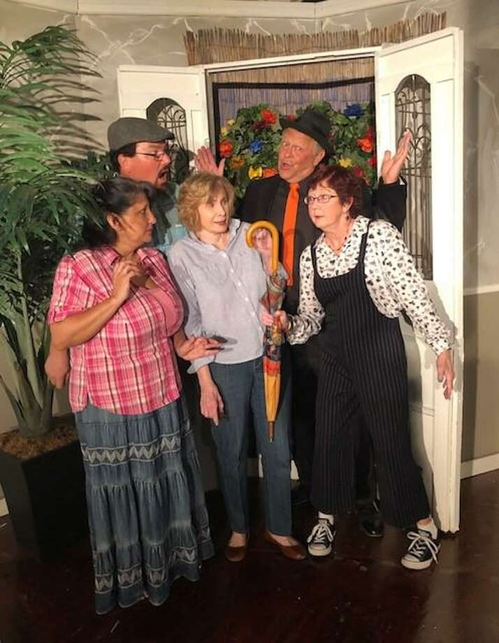 "Shoreacres resident and veteran actress Julia Jay, third from left, jumped at the chance to perform as a fading movie star in the fast-paced farce ""Love, Lies and the Doctor's Dilemma,"" which is onstage June 14-29 at Dinner Theatre at Franca's. Also in the cast are Alane Johnson, left, Peter Miller, Steve Quimby and Kathy Edge. The play is directed by Clear Lake resident Patti Meiners. Photo: Courtesy"