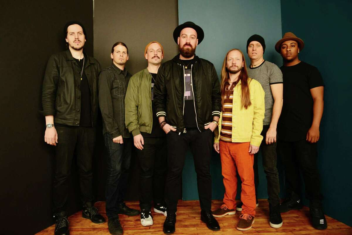 The Motet plays the Road Jam Music Fest at Two Roads Brewing Company in Stratford on June 23. From left are Drew Sayers (sax), Garrett Sayers (bass), Ryan Jalbert (guitar), Lyle Divinsky (vocals), Joey Porter (keys), Dave Watts (drums) and Parris Fleming (trumpet).