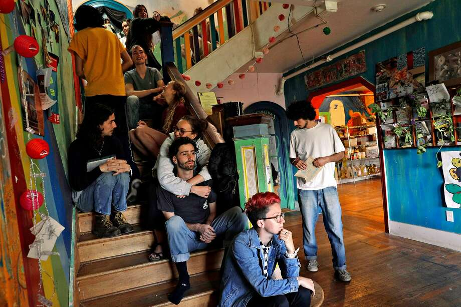 Housemates line up on the staircase for dinner at Loth. Photo: Carlos Avila Gonzalez / The Chronicle