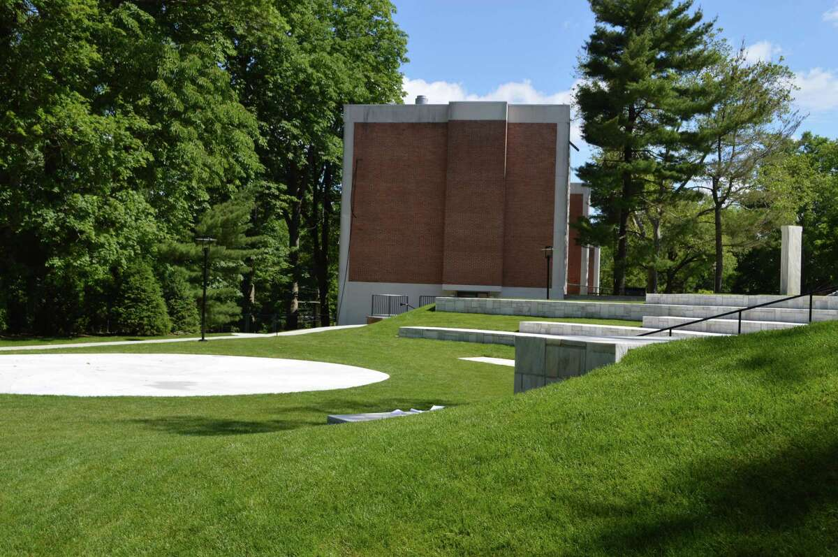 The stone amphitheater from Cos Cob was sited on an area where badminton was once played at Sarah Lawrence.