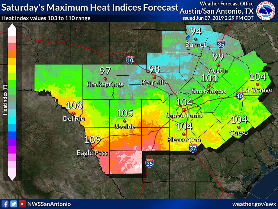 The National Weather Service is expecting hot temperatures and high relative humidity values to result in heat indices in the 100 to 110 range for areas along and east of Interstate 35 and south of Highway 90 starting Friday afternoon and lasting throughout the weekend. Photo: Courtesy, National Weather Service