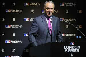 LONDON, ENGLAND - MAY 8: Commissioner of Baseball Robert D. Manfred Jr. speaks during the announcement of the 2019 London Series between the New York Yankees and the Boston Red Sox in London, England on Tuesday, May 8, 2018. (Photo by Alex Trautwig/MLB Photos)