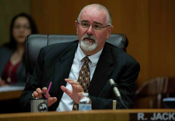 Harris County Precinct 4 Commissioner R. Jack Cagle speaks during Commissioner's Court at the the Harris County Administration Building Tuesday, June 4, 2019, in Houston.