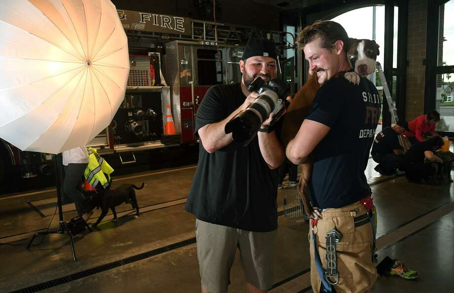 """Robert Harrington, left. of Bella Media, shares a photograph with firefighter Forrest McCord who was being photographed with """"Edan"""", 1, from the Harris County Animal Shelter, for the Spring Fire Dept.'s first calendar at Station 75 in Spring on June 6, 2019. Photo: Jerry Baker, Houston Chronicle / Contributor / Houston Chronicle"""