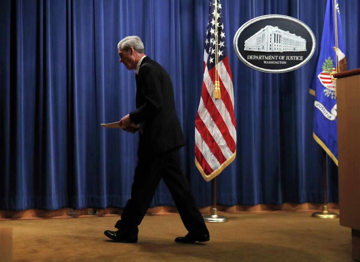 Special counsel Robert Mueller leaves the podium May 29 after speaking about the Russia investigation, ditching the presumption of innocence and acting as a catalyst for impeachment.