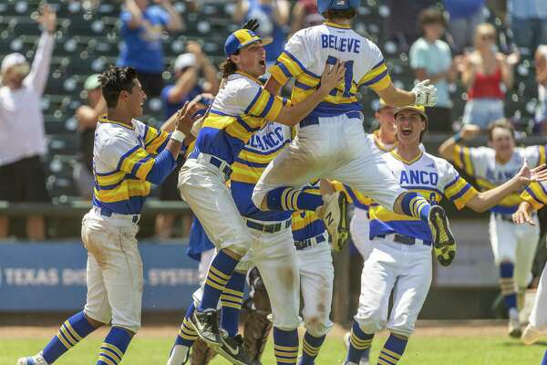 Blanco celebrates a 3-2 win over Van Alstyne with Justin Wardlow (21) driving in the winning run during the UIL Class 3A state baseball semifinal in Round Rock, Friday, June 7, 2019.(Stephen Spillman / for Express-News)