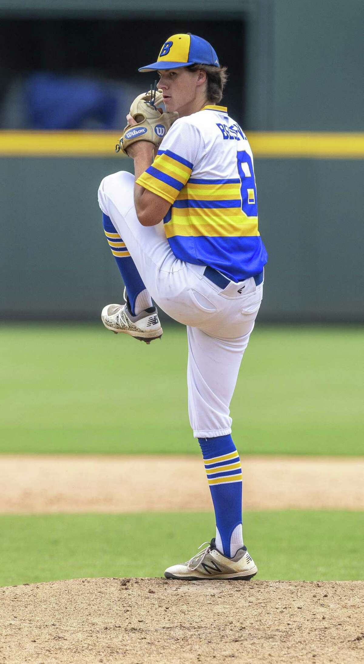 Blanco pitcher AJ Briscoe (8) throws against Van Alstyne during the UIL Class 3A state baseball semifinal in Round Rock, Friday, June 7, 2019.(Stephen Spillman / for Express-News)