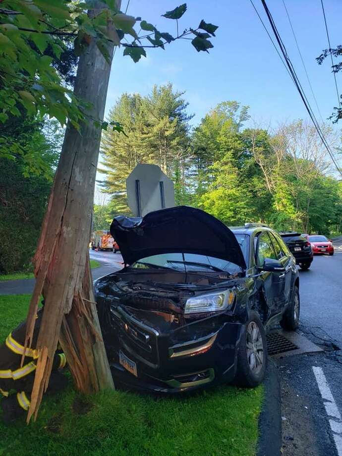 A crash at the intersection of Route 136 and Redding Road in Easton, Conn., on Thursday, June 6, 2019. Photo: Contributed Photo / Easton EMS