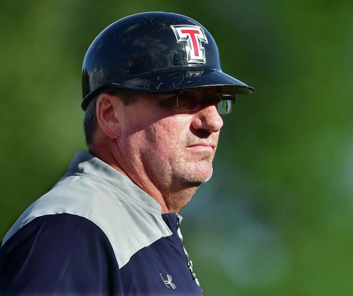 Trumbull head coach Jack McFarland against Hamden, Tuesday, July 24, 2018, in the American Legion senior state tournament at Hamden High School. Trumbull won, 13-0.