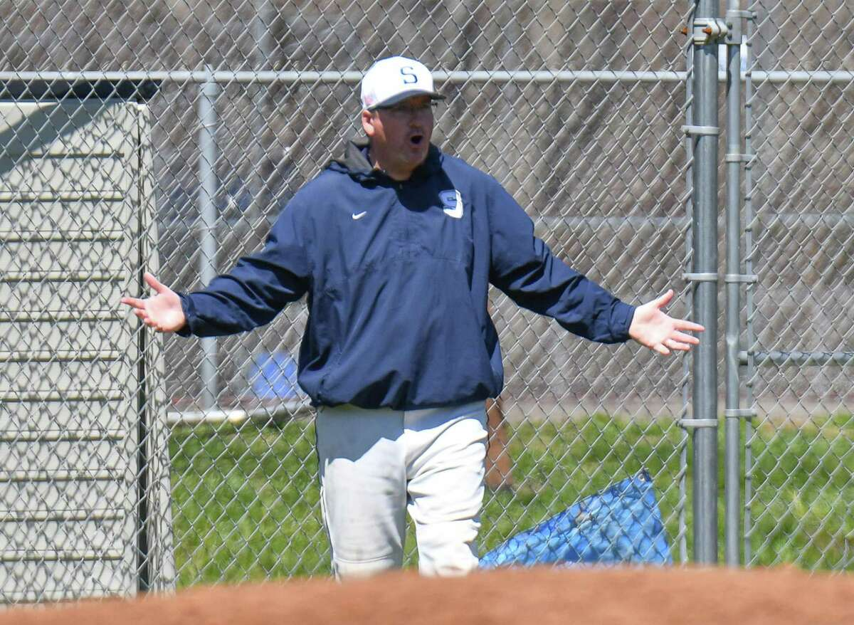 Staples Head Coach Jack McFarland appeals to the umpire during a game against the Masuk Panthers at Staples High School on Saturday April 21, 2018 in Westport, Connecticut.