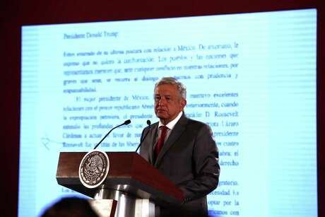 Mexico President Andrés Manuel López Obrador says Mexico will not respond to U.S. President Donald Trump's threat of coercive tariffs with desperation, but instead push for dialogue, during his daily press conference at the National Palace, in Mexico City, Mexico, Friday, May 31, 2019.