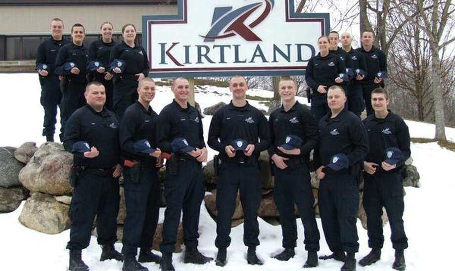 Pictured is the 48th Kirtland Regional Police Academy Cadets. (Front row, from left) Alexander Tanis, Neil Simmons, Daniel Cochrane, Jacob Zajac, Koedy Dole, Jesse Fisher and Joshua Esch; (back row, from left) Kyle Bachelder, Logan Bewley, Stephanie Bechler, Paige Howe, Jennifer Lester, Kyle Searfoss, Kyle Hartwell and John Evans. (Submitted Photo)