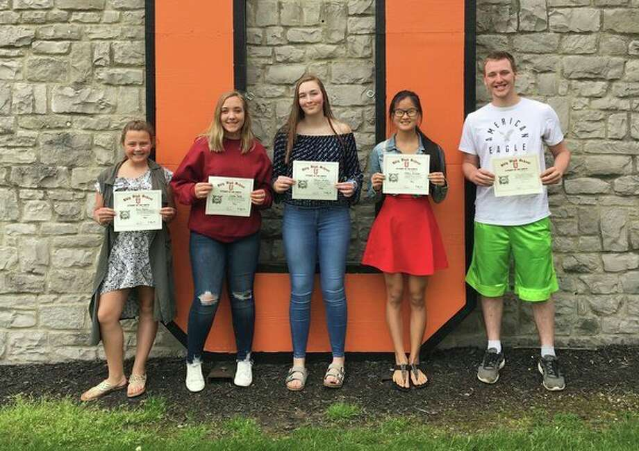 Ubly Community School recently announced their May Students of the Month. They are Grade 7: Julia Maurer, Grade 8: Cailee Janik, Grade 9: Jenna Arntz, Grade 10: Haley Krueger and Grade 11: Logan Hulburt. (Submitted Photo)