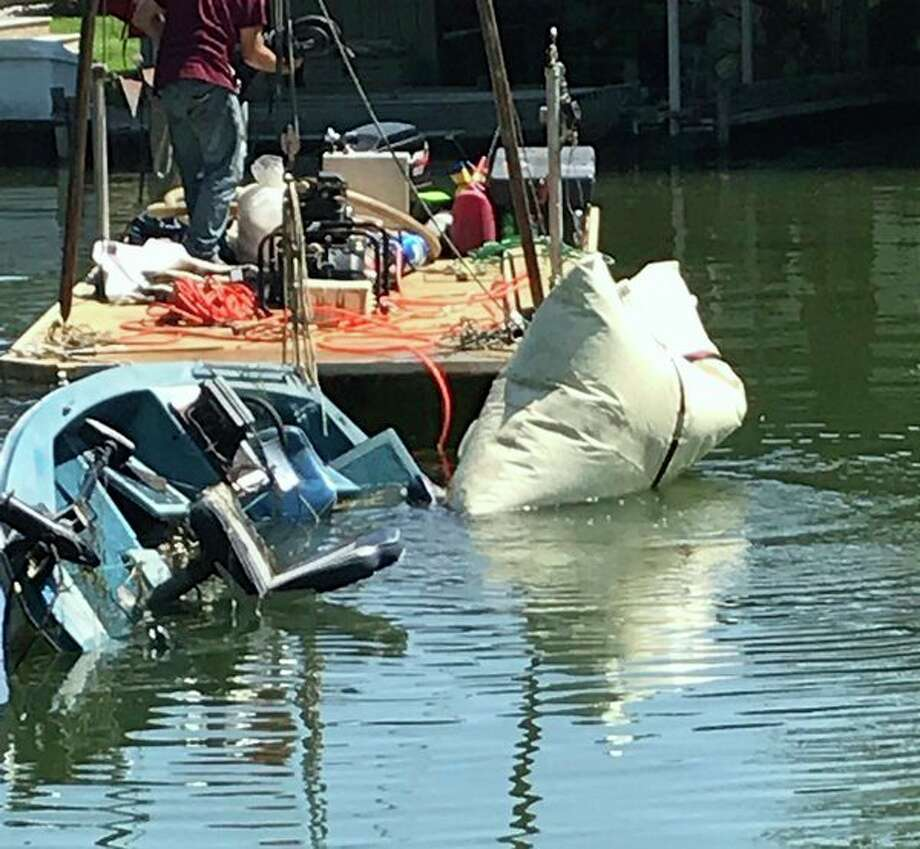 Boat that capsized between Beadle Bay Marina and Wild Fowl Bay. (Courtesy Photo)