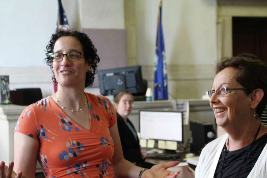 New Haven Legal Assistance Association attorneys Amy Marx and Shelley White Photo: Allan Appel / New Haven Independent / Pool Photo /