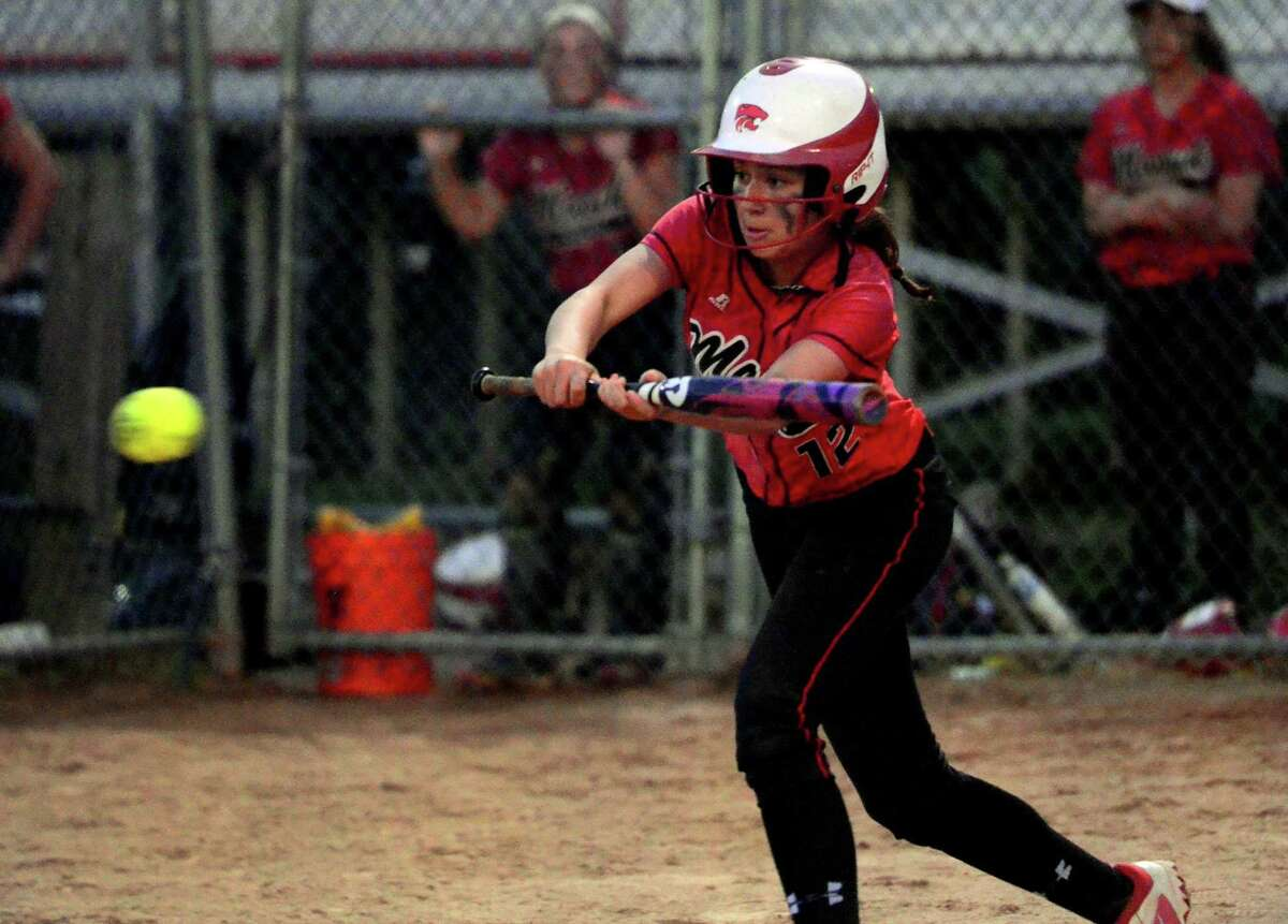 Masuk's Emily Lange at bat against East Haven Friday.