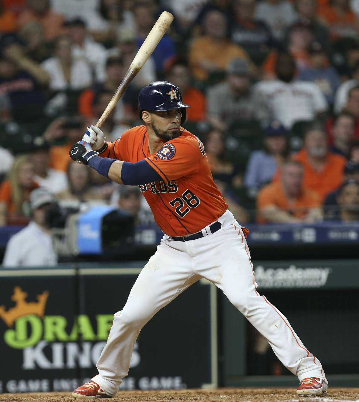 Houston Astros catcher Robinson Chirinos (28) hits a walk-off double and Yuli Gurriel scores during the bottom eleventh inning of the MLB game at Minute Maid Park on Friday, June 7, 2019, in Houston. The Houston Astros defeated the Baltimore Orioles 4-3.