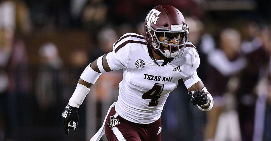 STARKVILLE, MS - OCTOBER 27:  Derrick Tucker #4 of the Texas A&M Aggies defends during a game against the Mississippi State Bulldogs at Davis Wade Stadium on October 27, 2018 in Starkville, Mississippi.  (Photo by Jonathan Bachman/Getty Images) Photo: Jonathan Bachman/Getty Images / 2018 Jonathan Bachman