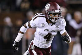 STARKVILLE, MS - OCTOBER 27: Derrick Tucker #4 of the Texas A&M Aggies defends during a game against the Mississippi State Bulldogs at Davis Wade Stadium on October 27, 2018 in Starkville, Mississippi. (Photo by Jonathan Bachman/Getty Images)