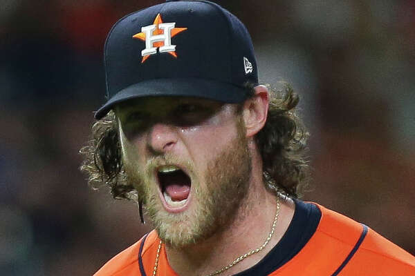 Houston Astros starting pitcher Gerrit Cole (45) celebrates his 14th strike out of the night after the top seventh inning of the MLB game against the Baltimore Orioles at Minute Maid Park on Friday, June 7, 2019, in Houston.