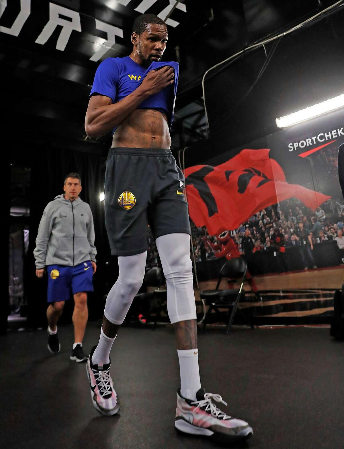 Golden State Warriors' Kevin Durant leaves the court after working out on an off day during NBA Finals at ScotiaBank Arena in Toronto, Ontario, Canada, on Thursday, May 31, 2019.