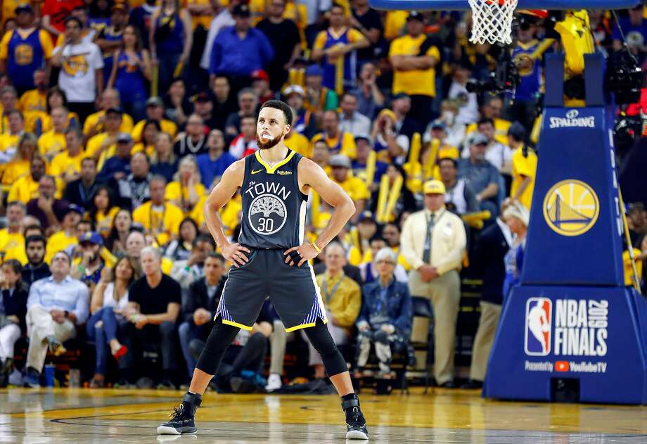 Golden State Warriors' Stephen Curry is seen during a break in the action in the fourth quarter during game 4 of the NBA Finals between the Golden State Warriors and the Toronto Raptors at Oracle Arena on Friday, June 7, 2019 in Oakland, Calif. Photo: Scott Strazzante / The Chronicle