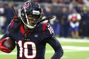 Houston Texans wide receiver DeAndre Hopkins (10) makes a 26-yard reception against the Jacksonville Jaguars during the first quarter of an NFL football game at NRG Stadium on Sunday, Dec. 30, 2018, in Houston.