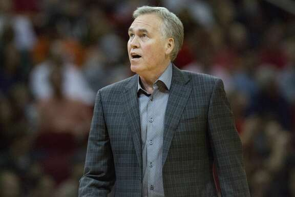Houston Rockets head coach Mike D'Antoni looks up to the score board during an NBA game between the Houston Rockets and the Charlotte Hornets at the Toyota Center on Monday, March 11, 2019, in Houston. The Houston Rockets won against the Charlotte Hornets 118- 106.