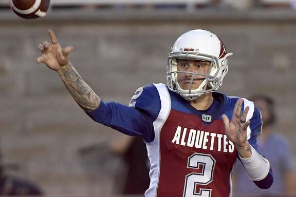Montreal Alouettes quarterback Johnny Manziel (2) throws a pass against the Hamilton Tiger-Cats during the first half of a Canadian Football League game Friday, Aug. 3, 2018, in Montreal. (Paul Chiasson/The Canadian Press via AP)