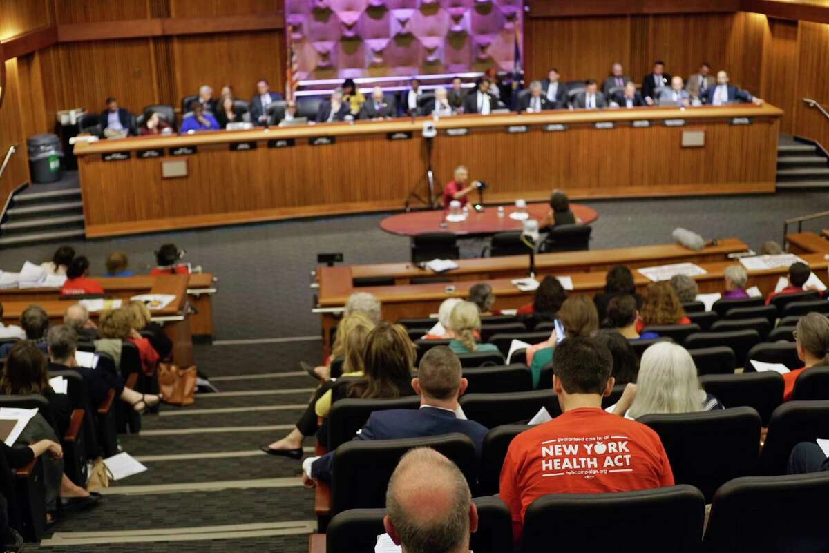 Elisabeth Benjamin, co-founder and vice president of Health Care for All New York and the Community Service Society of New York, testifies at the New York State Legislature joint public hearing on the New York Health Act, on Tuesday, May 28, 2019, in Albany, N.Y. (Paul Buckowski/Times Union)