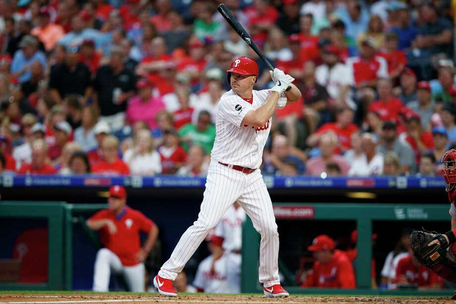 Philadelphia Phillies' Jay Bruce in action during a baseball game against the Cincinnati Reds, Friday, June 7, 2019, in Philadelphia. AP Photo/Matt Slocum) Photo: Matt Slocum, Associated Press / Copyright 2019 The Associated Press. All rights reserved