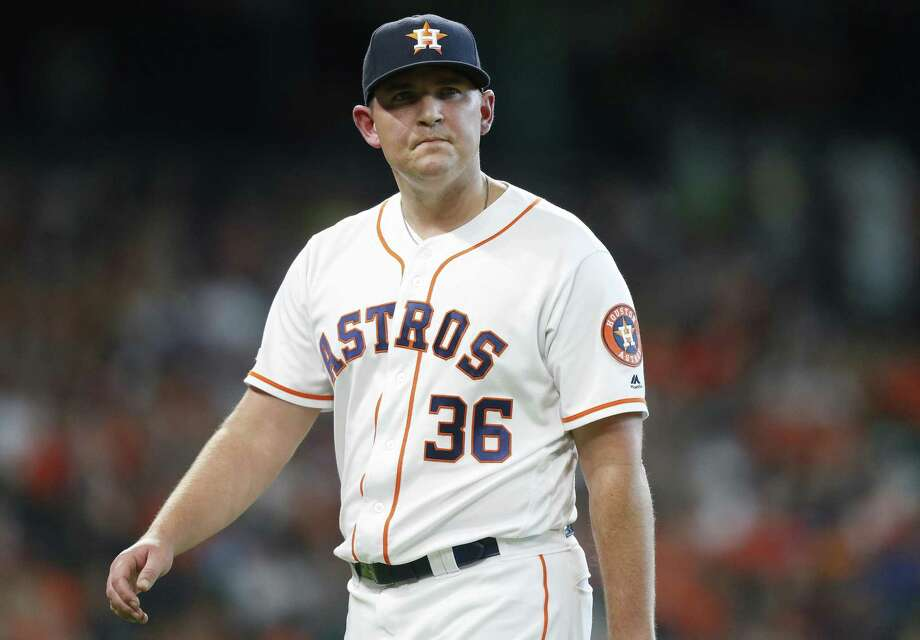 Houston Astros relief pitcher Will Harris (36) reacts after getting the final out in the eighth inning against the Baltimore Orioles at Minute Maid Park in Houston on Saturday, June 8, 2019. Astros lead the three-game series 1-0. Photo: Elizabeth Conley, Houston Chronicle / Staff Photographer / © 2018 Houston Chronicle