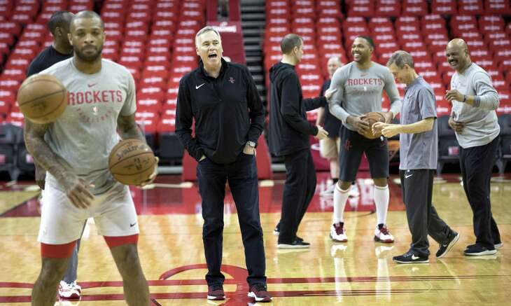 Houston Rockets head coach Mike D'Antoni gathers his team to start practice during Rockets practice at Toyota Center on Friday, May 3, 2019, in Houston. The Rockets, down 0-2 in the NBA Western Conference semifinals, play the Golden State Warriors in Game 3 on Saturday.