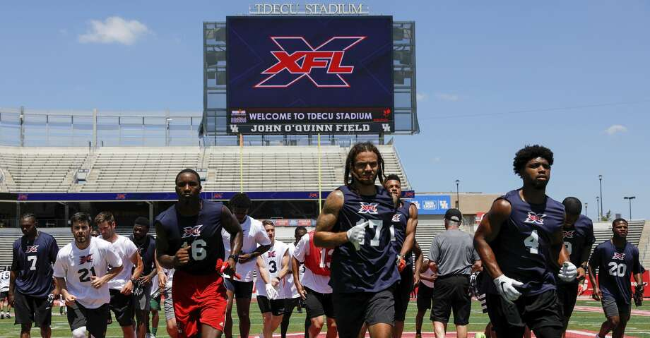 Players participate in drills during the XFL Summer Showcase at TDECU Stadium in Houston, TX on Saturday, June 8, 2019. Photo: Tim Warner/Contributor