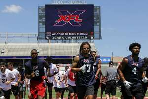 Players participate in drills during the XFL Summer Showcase at TDECU Stadium in Houston, TX on Saturday, June 8, 2019.