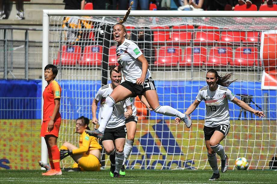 Germany's defender Giulia Gwinn (C) celebrates after scoring a goal during the France 2019 Women's World Cup Group B football match between Germany and China, on June 8, 2019, at the Roazhon Park stadium in Rennes, western France. (Photo by LOIC VENANCE / AFP)LOIC VENANCE/AFP/Getty Images Photo: Loic Venance, AFP/Getty Images
